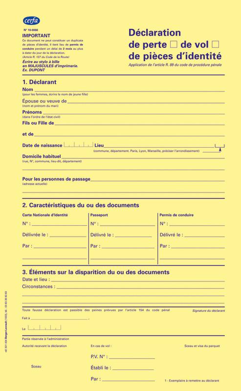 d claration de perte ou de vol de pi ce d 39 identit passeport carte nationale d 39 identit. Black Bedroom Furniture Sets. Home Design Ideas