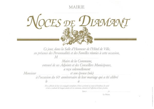 diplme de noces de diamant - Poeme 60 Ans De Mariage Noces De Diamant
