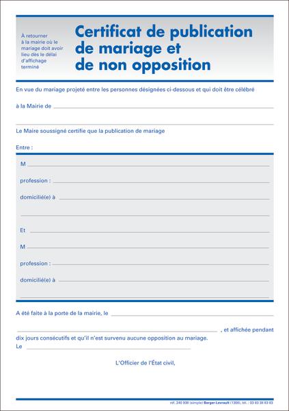 Certificat de publication de mariage et de non opposition publication du mariage mariage - Publication banc mariage ...