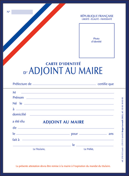Rf 270512 Carte DAdjoint Au Maire