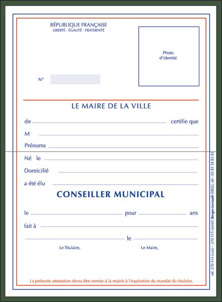 Rf 270514 Carte De Conseiller Municipal