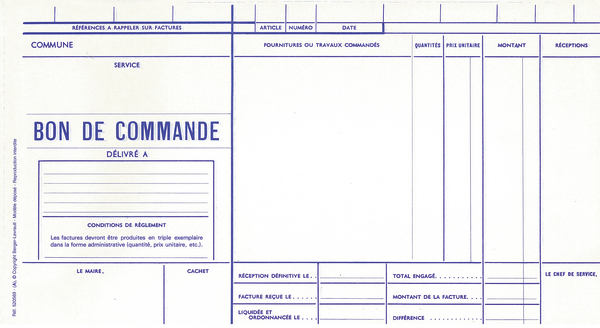 carnet de 50 bons de commande en duplicata autocopiants 27 x 14 cm format documents. Black Bedroom Furniture Sets. Home Design Ideas