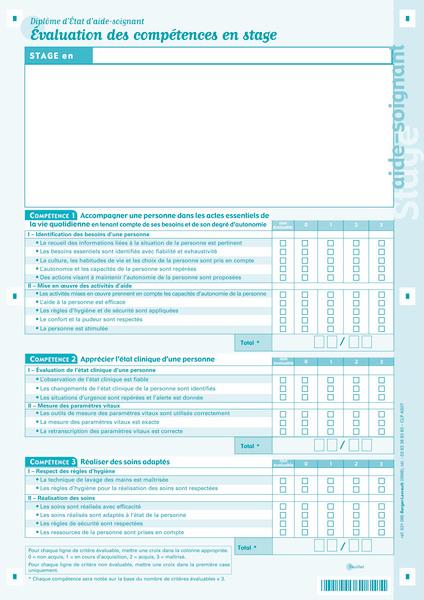 Fiches d 39 valuation des comp tences en stage aide soignant - Grille d evaluation des competences infirmieres ...
