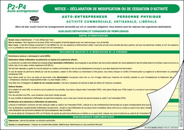 formulaire p4 cessation dactivité
