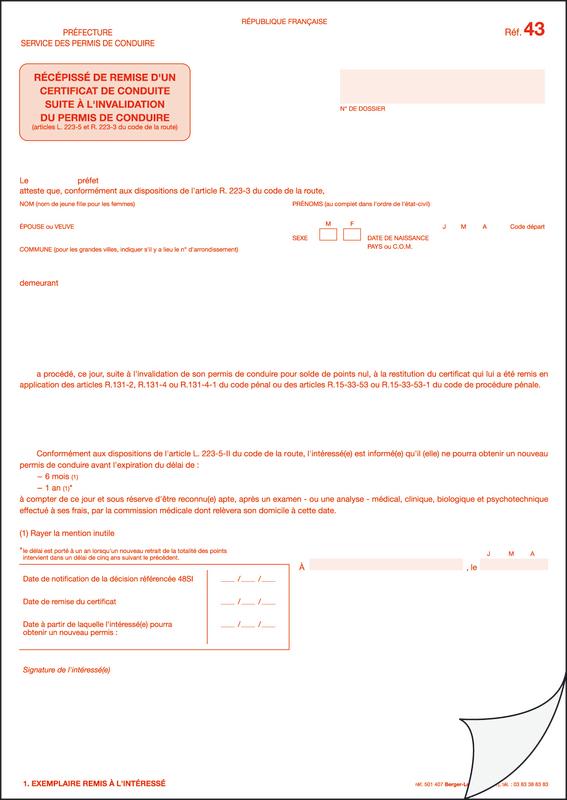r f 43 r c piss de remise d 39 un certificat de conduite suite l 39 invalidation du permis de. Black Bedroom Furniture Sets. Home Design Ideas