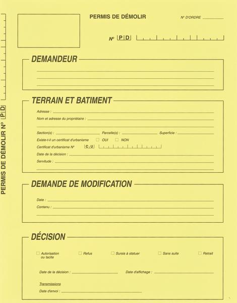 Les dossiers cartonn s simples pour vos instructions for Papier pour permis de construire