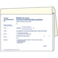 Réf. 160808 : bulletin de renvoi, mesures d'admin. Judiciaires, Imp. bleue.