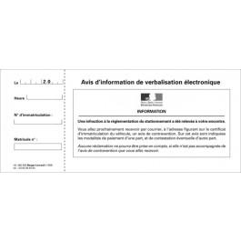 Avis d'information de verbalisation électronique (infraction à la réglementation du stationnement), carnet de 50 feuillets détachables