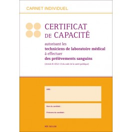 Carnet individuel Certificat de capacité