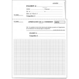 Copies examens quadrillées à en-tête détachable