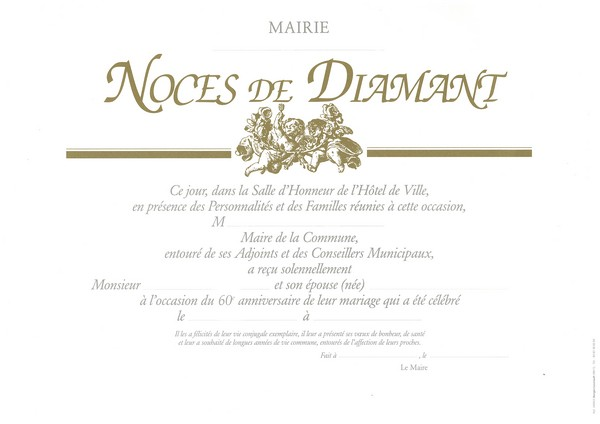 Dipl me de noces de diamant noces d 39 or noces de for Ou avoir des cartons gratuits