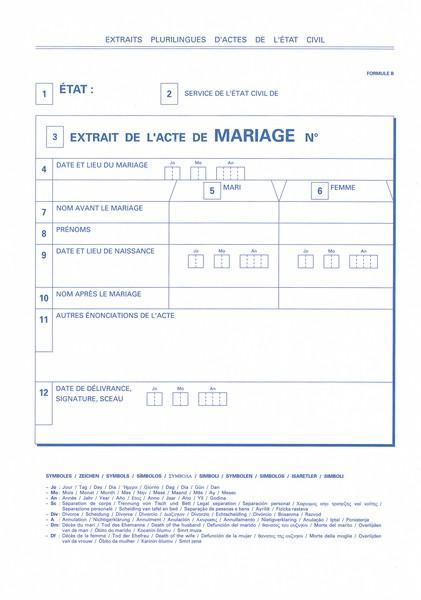 un modèle dacte de mariage plurilingue