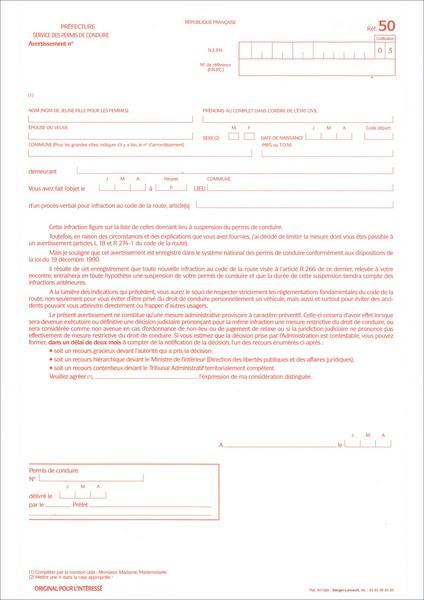 r f 50 lettre d 39 avertissement pour infraction au code de la route suspension du permis de. Black Bedroom Furniture Sets. Home Design Ideas