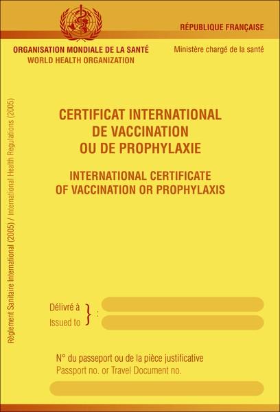 Certificat international de vaccination - Contrôle sanitaire aux frontières - Prévention ...