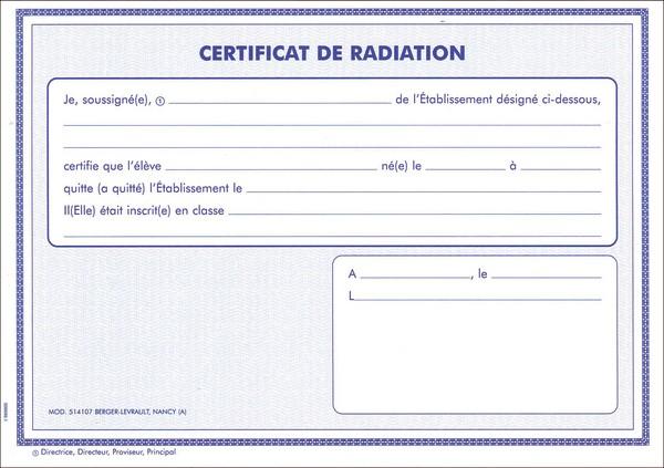 certificat de radiation scolaire modele