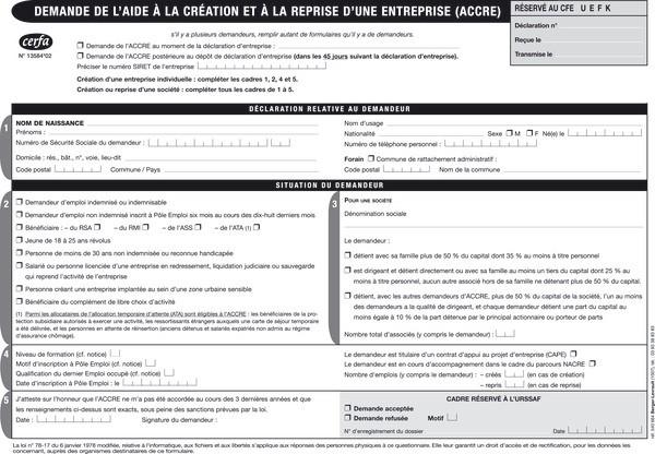formulaire demande accre