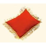 Réf. 280112-S : Coussin tissu ottoman rouge avec franges dorées