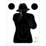 Cibles CNT n°3 - homme noir sur fond blanc sur papier